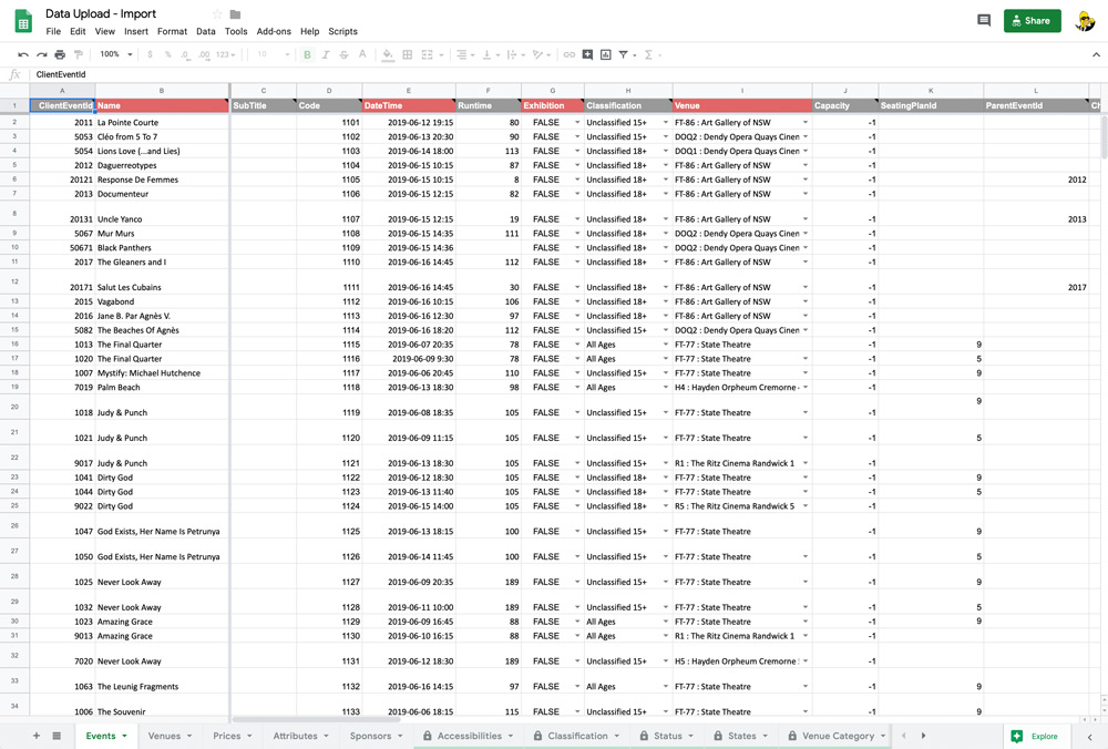 Google spreadsheet showing data to import to Ferve Tickets