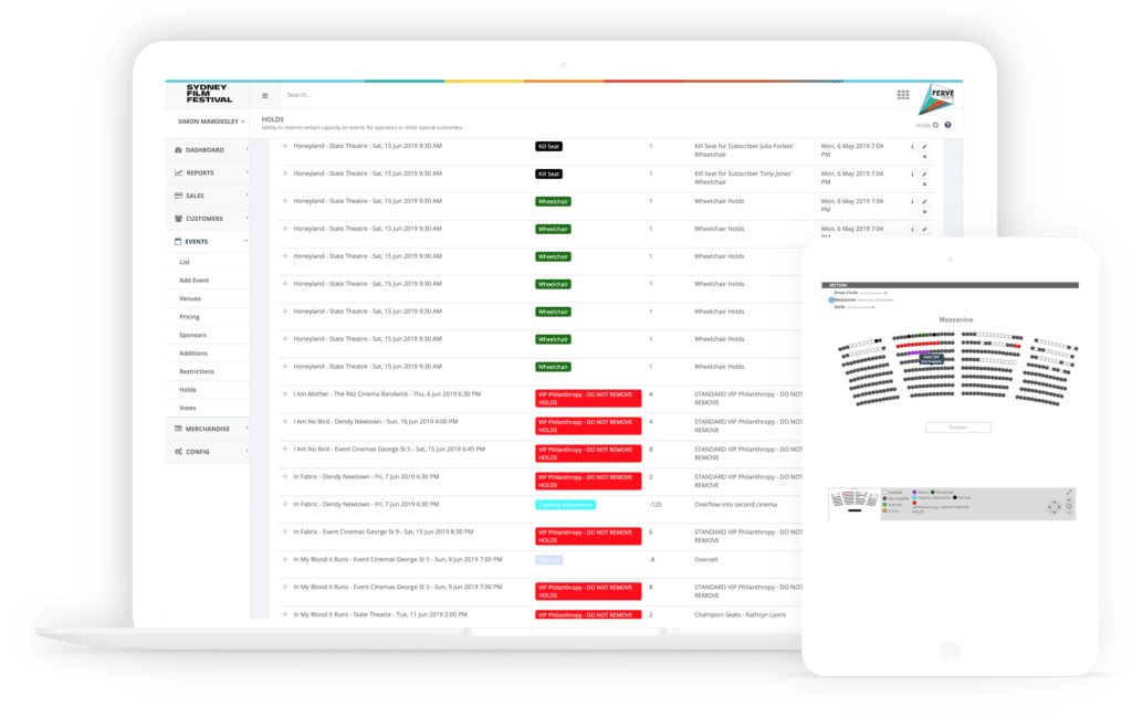 Event ticketing solution holds and allocated seating screenshot