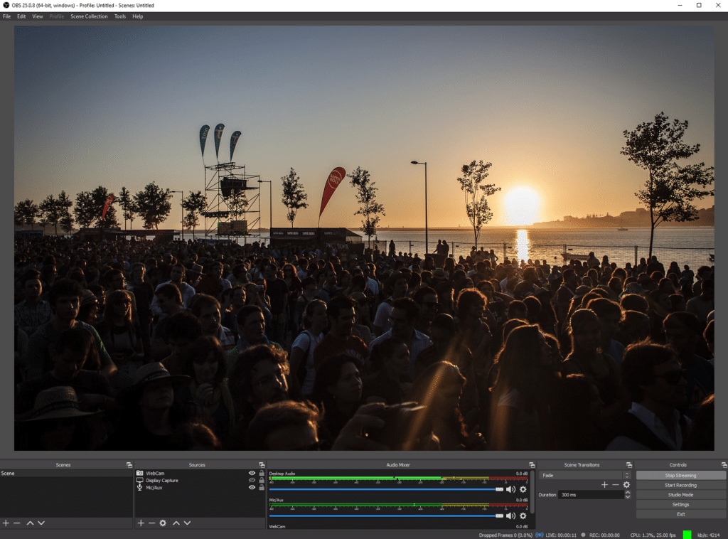 OBS software being used to Livestream a beach party